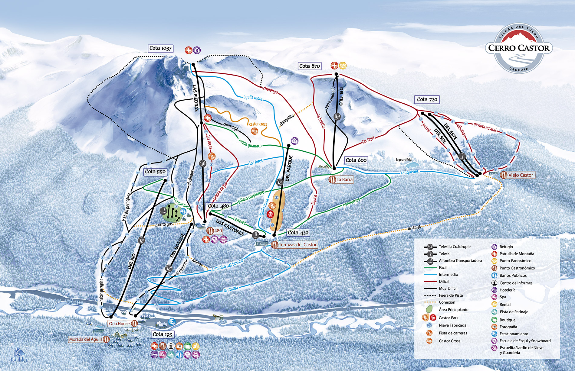 Cerro Castor Piste / Trail Map