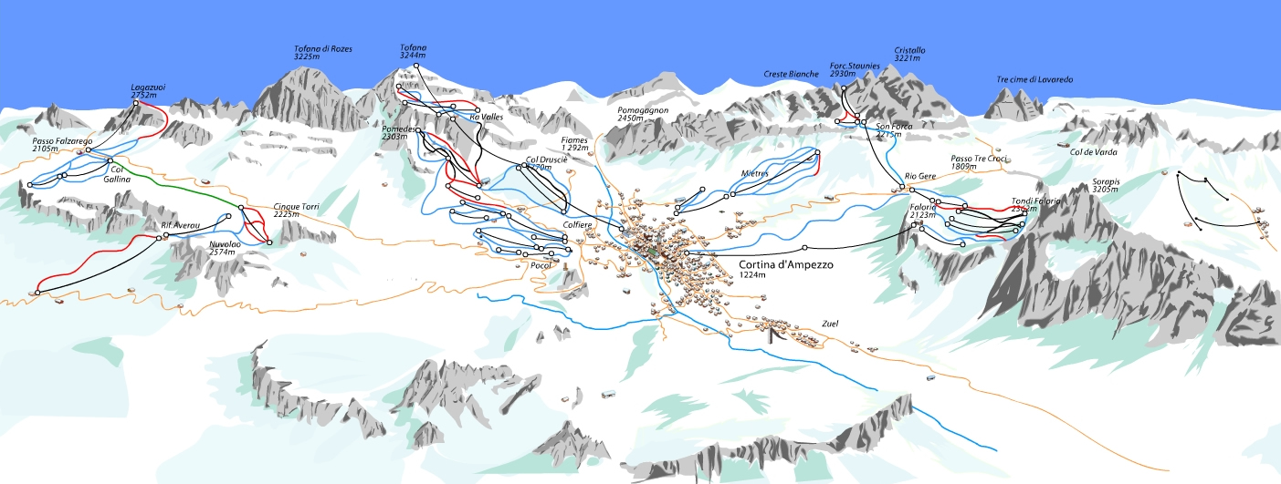 Cortina Piste / Trail Map
