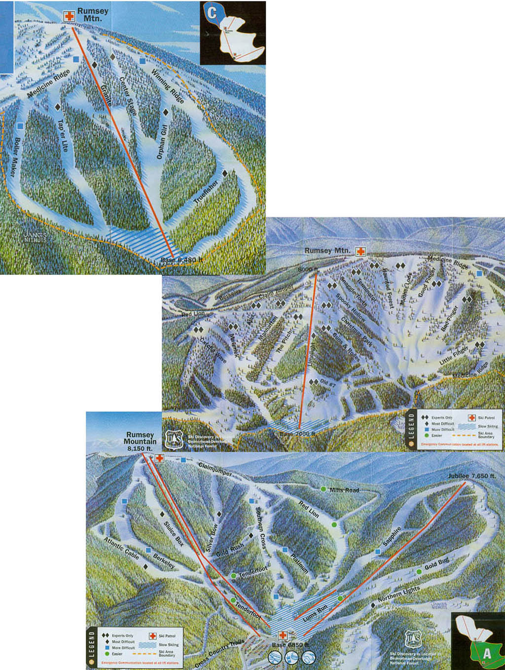 Discovery Ski Area Piste / Trail Map