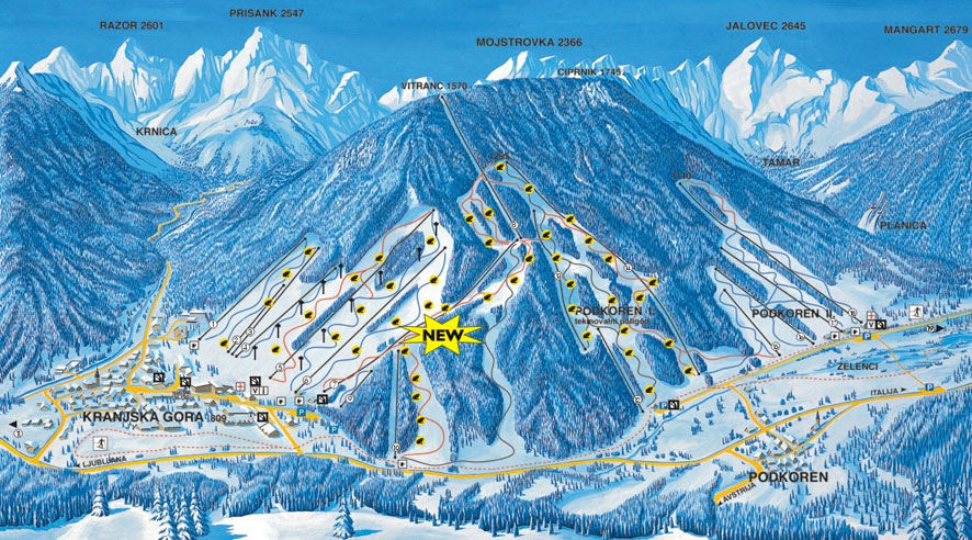 Kranjska Gora Piste / Trail Map