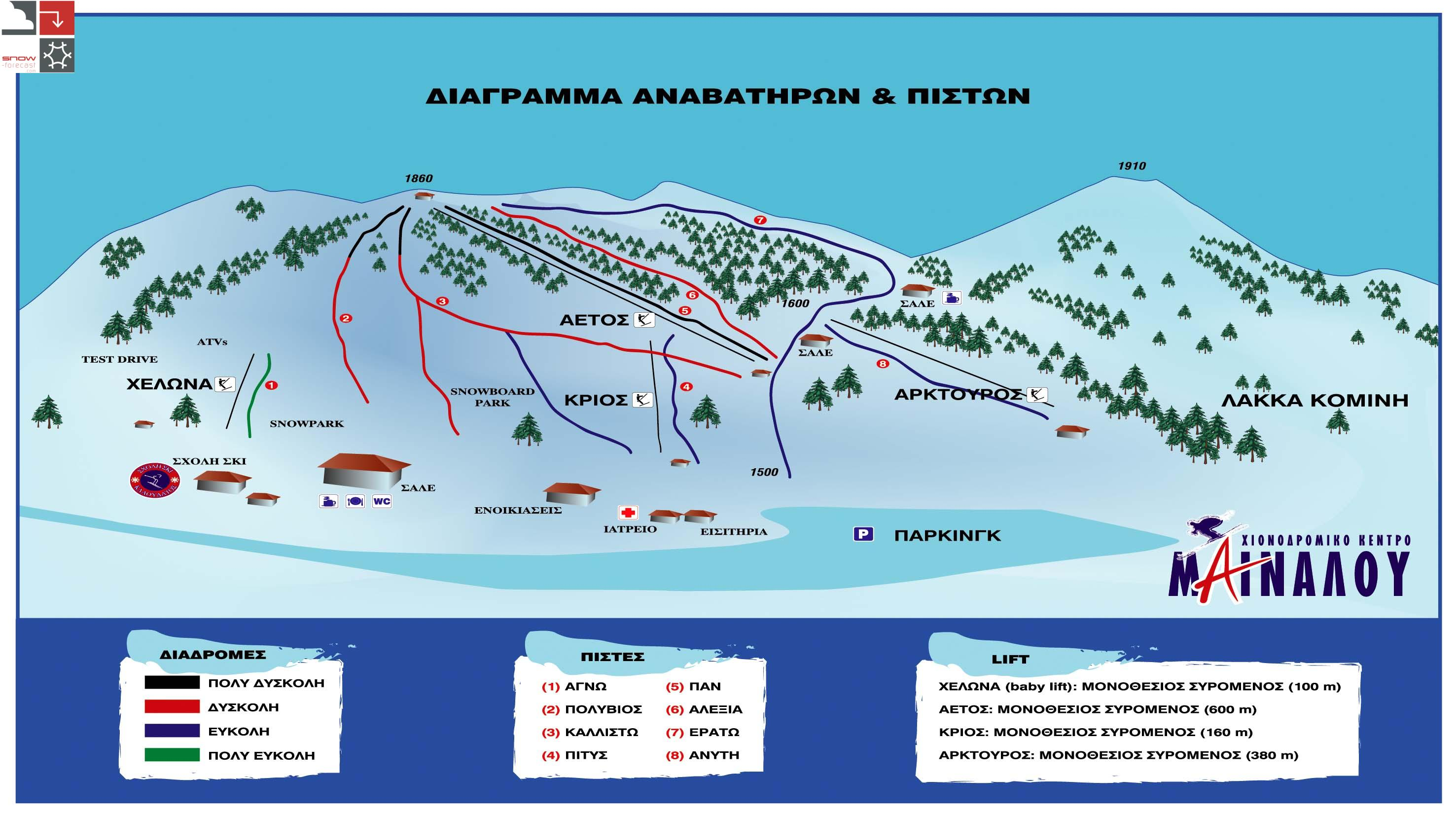 Mainalo Piste / Trail Map