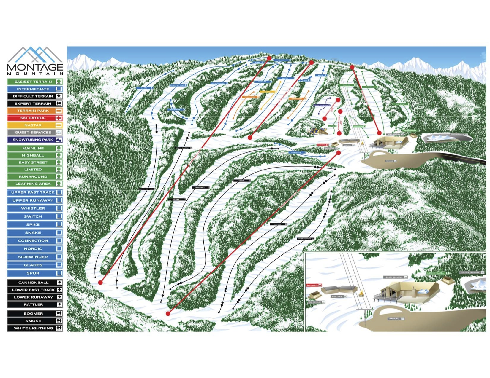 Montage Mountain Resorts Piste / Trail Map