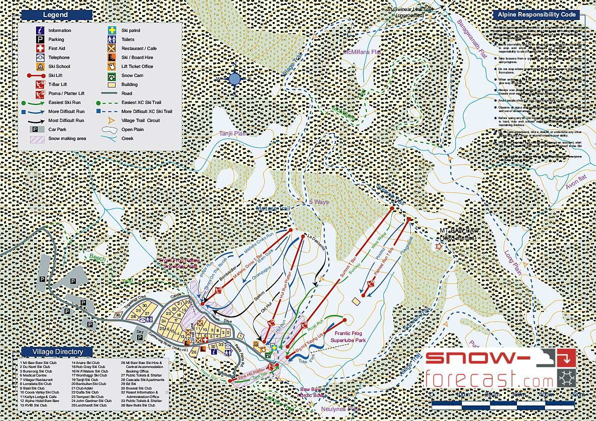 Mount Baw Baw Piste / Trail Map