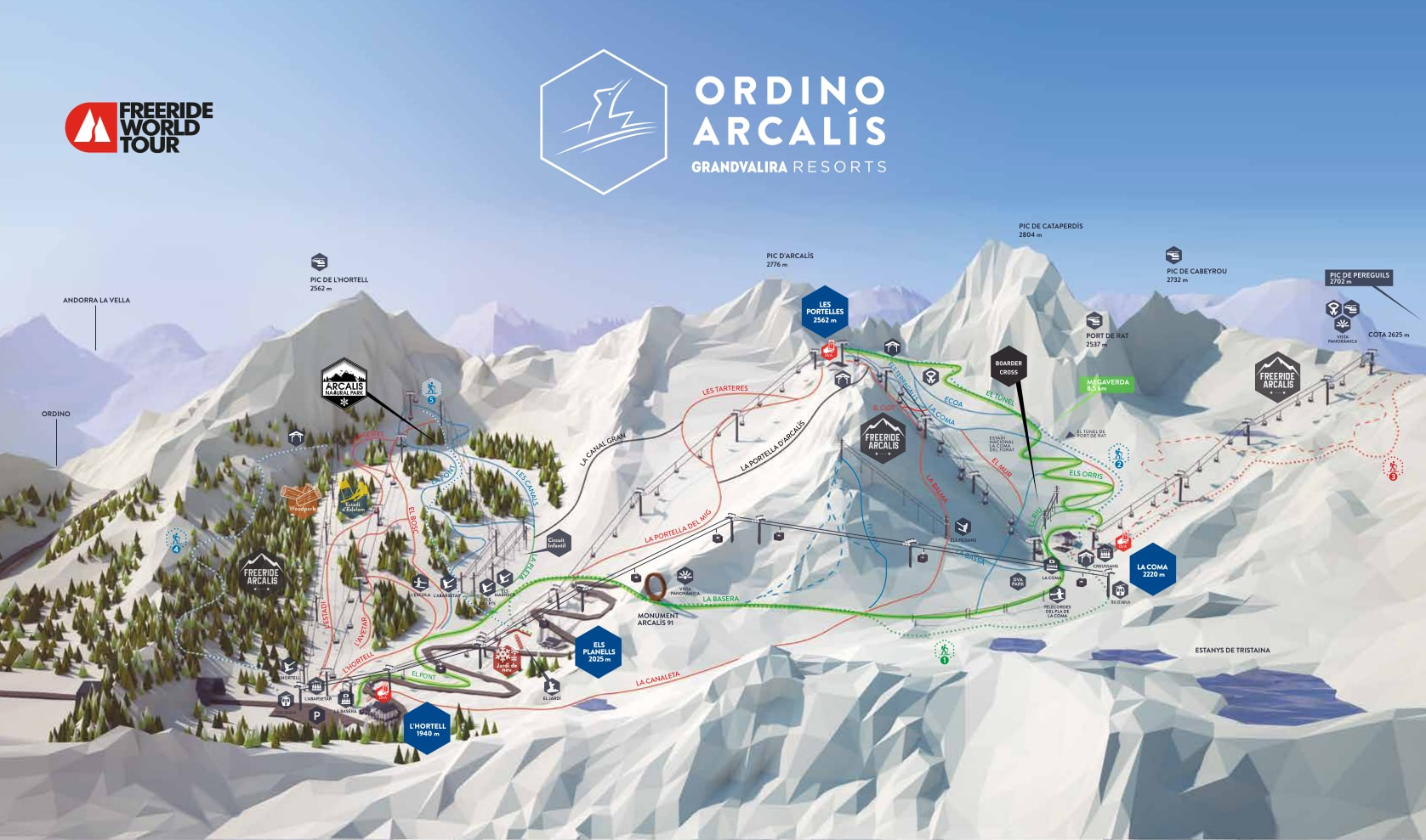 Vallnord-Arcalís Piste / Trail Map