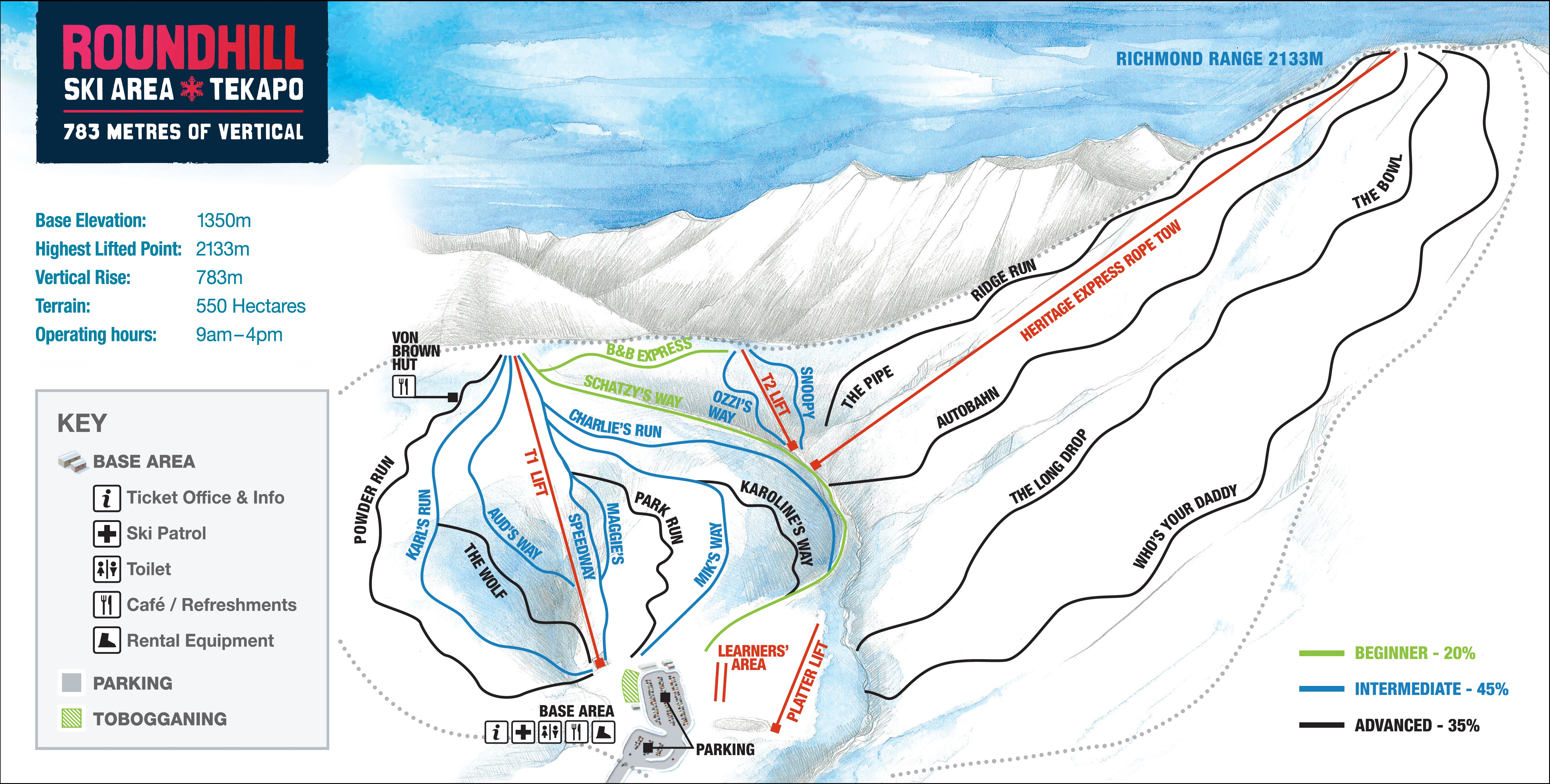 Roundhill Piste / Trail Map