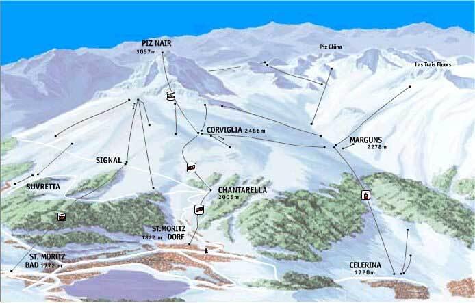 samedan engadin ski resort guide lagenkarte samedan engadin ski urlaub unterkunft. Black Bedroom Furniture Sets. Home Design Ideas