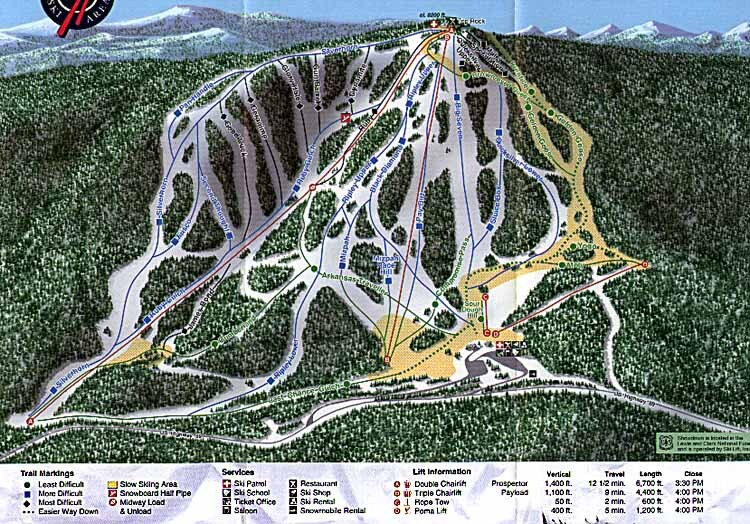 Showdown Ski Area Piste / Trail Map