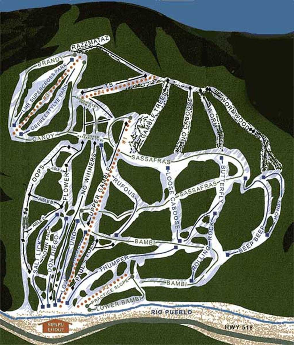 Sipapu Ski and Summer Resort Piste / Trail Map