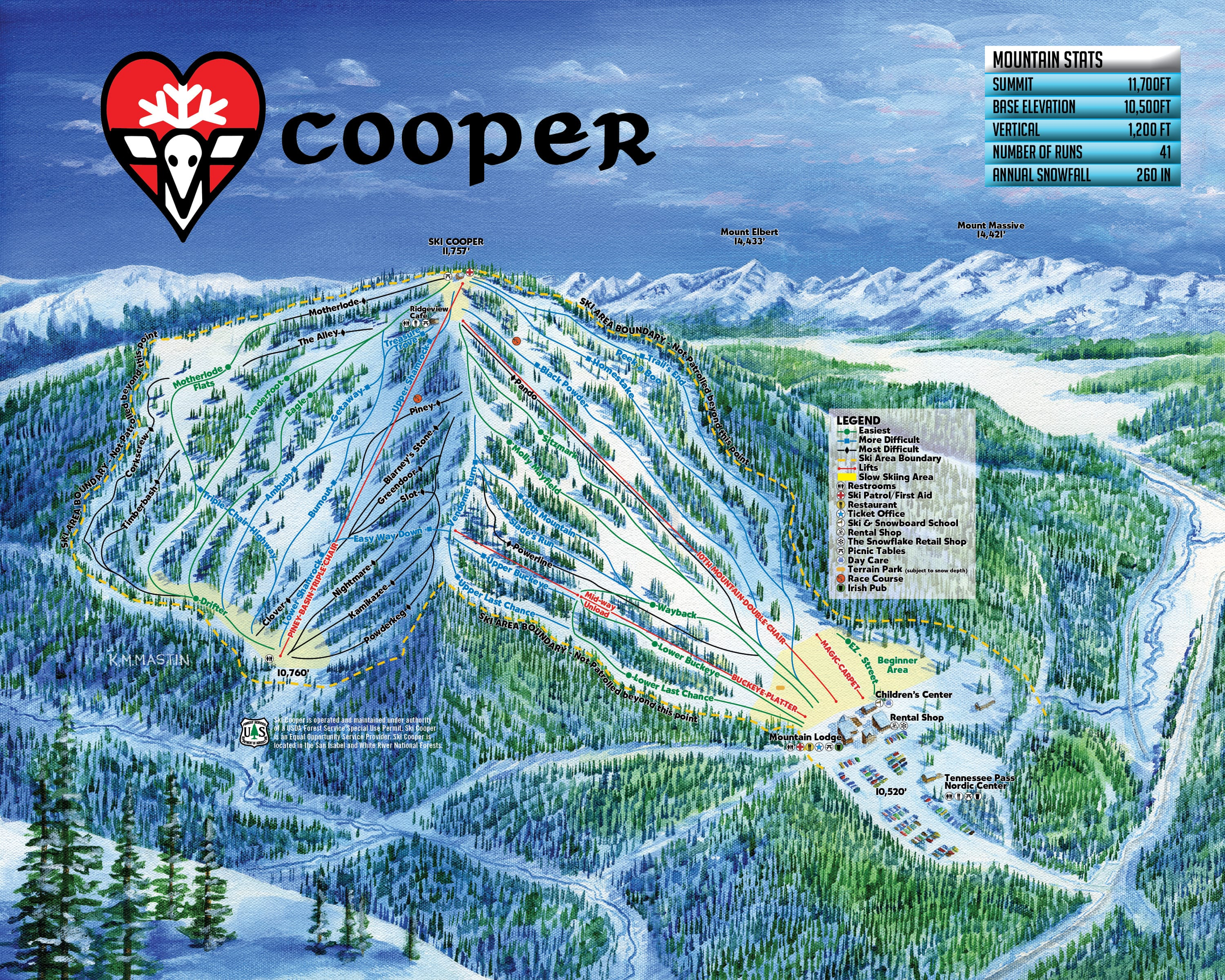 Ski Cooper Piste / Trail Map