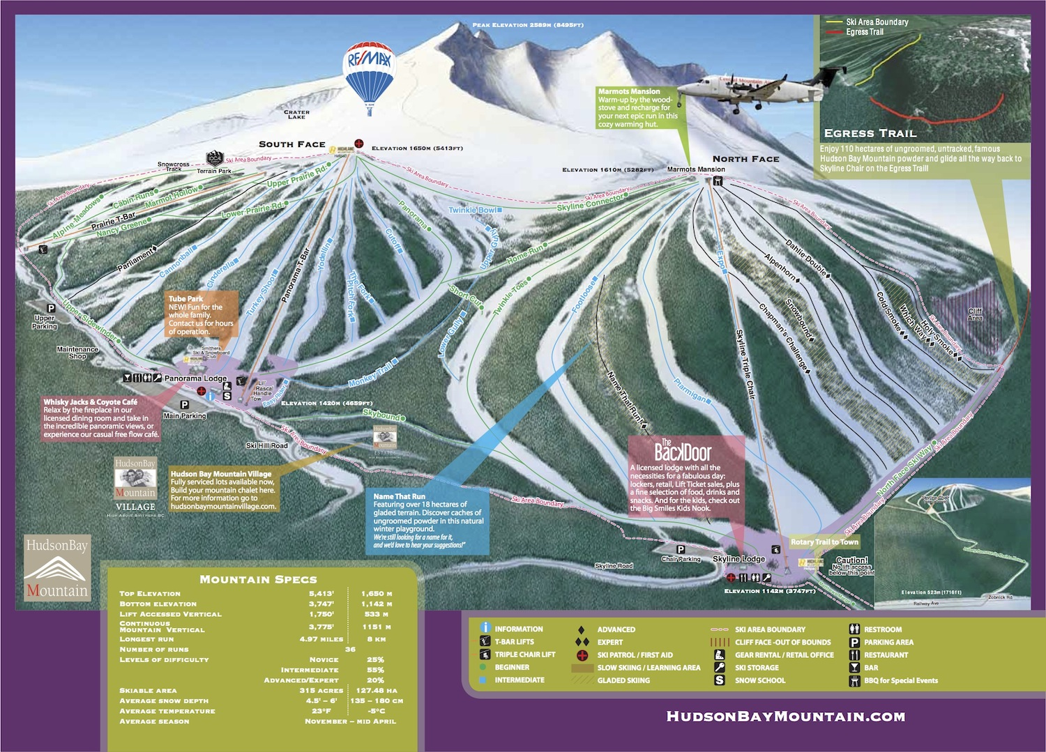 Hudson Bay Mountain Piste / Trail Map