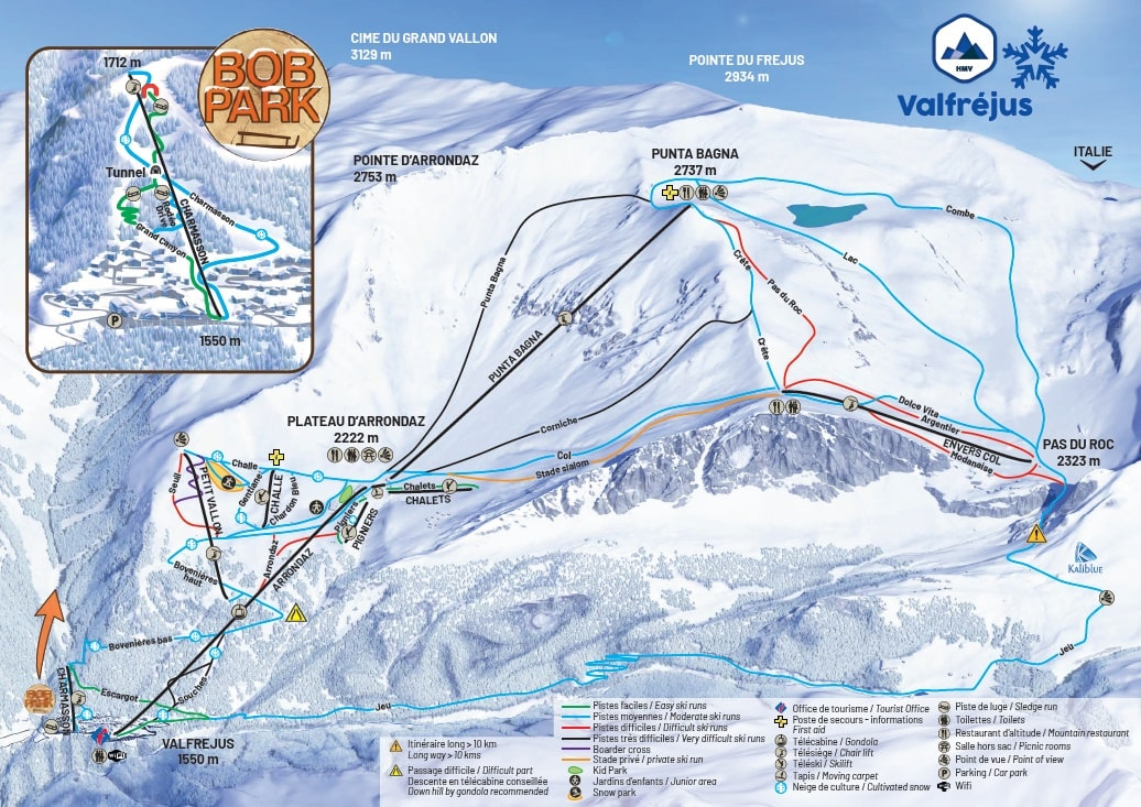 Valfrejus Piste / Trail Map