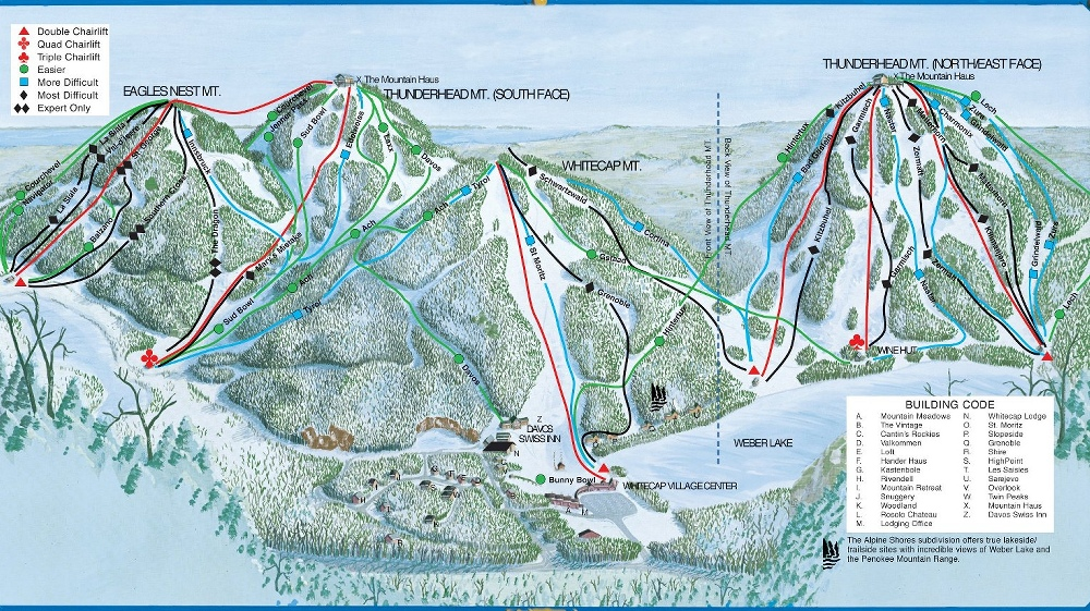 Whitecap Mountain Piste / Trail Map