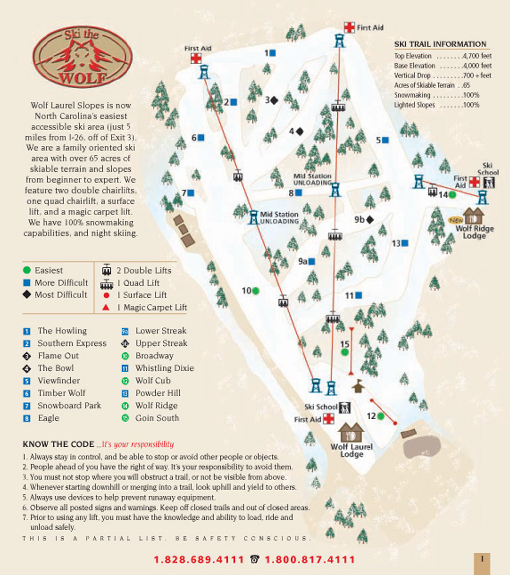 Wolf Laurel Piste / Trail Map
