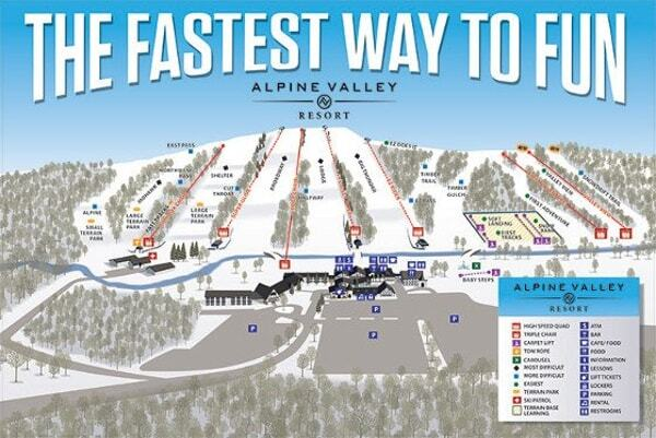 Alpine Valley Piste / Trail Map