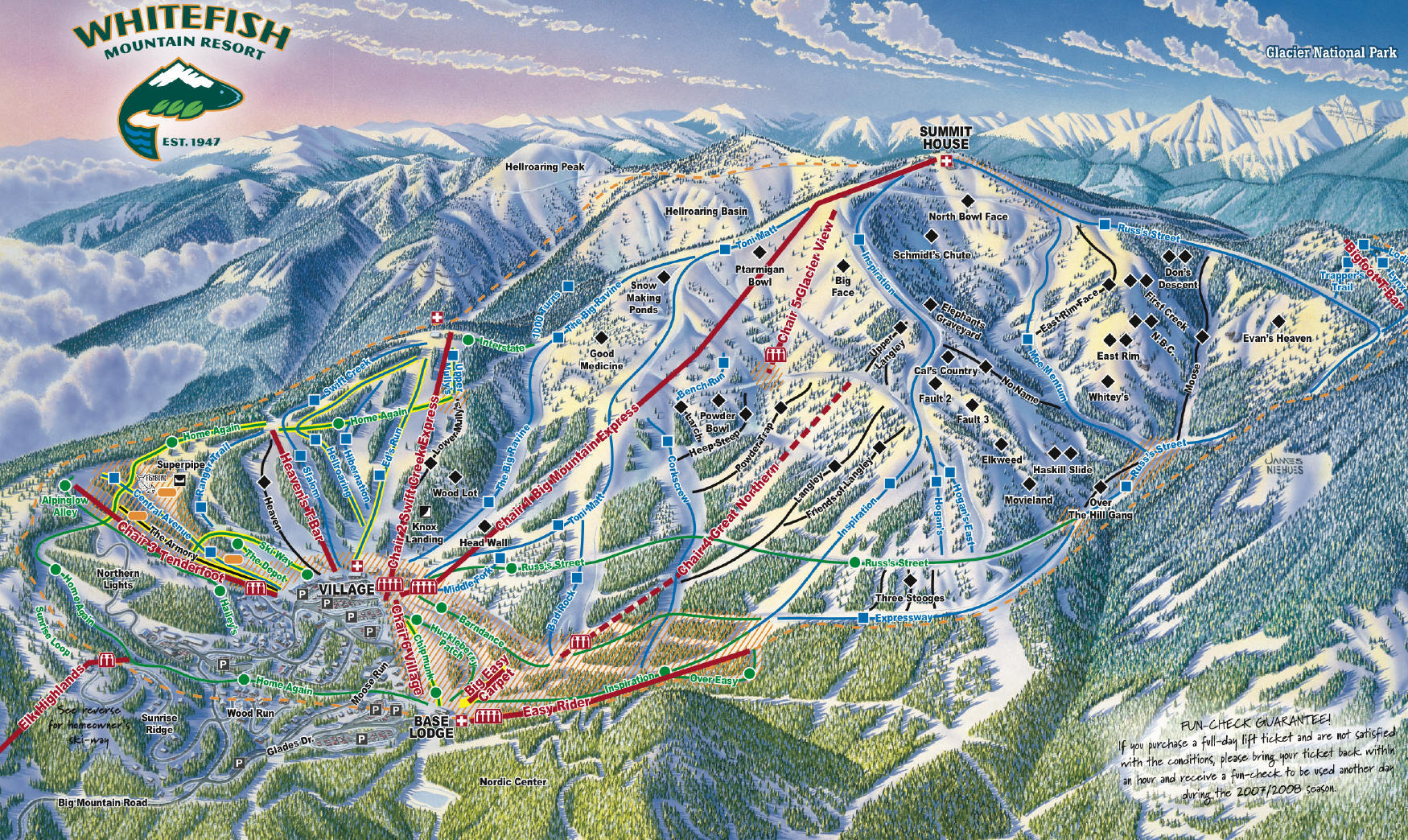 Whitefish Mountain Resort Piste / Trail Map