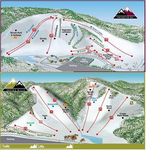 Boston Mills Brandywine Piste / Trail Map