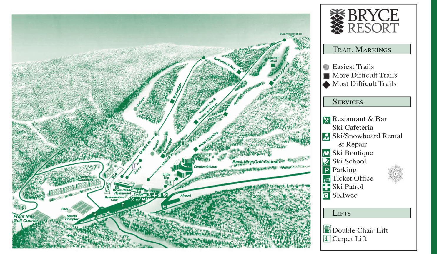 Bryce Resort Piste / Trail Map