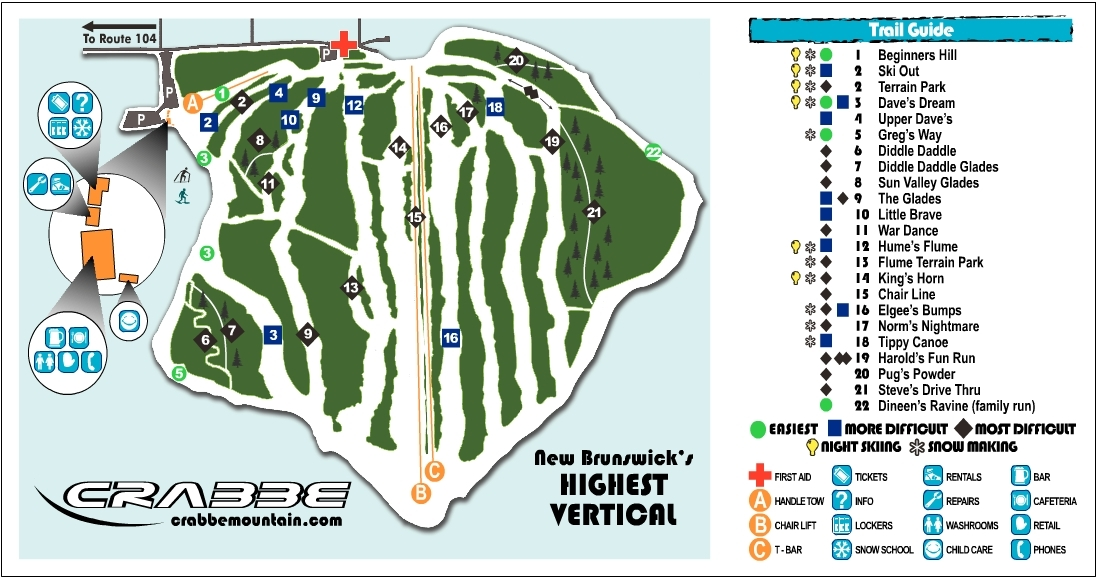 Crabbe Mountain Piste / Trail Map