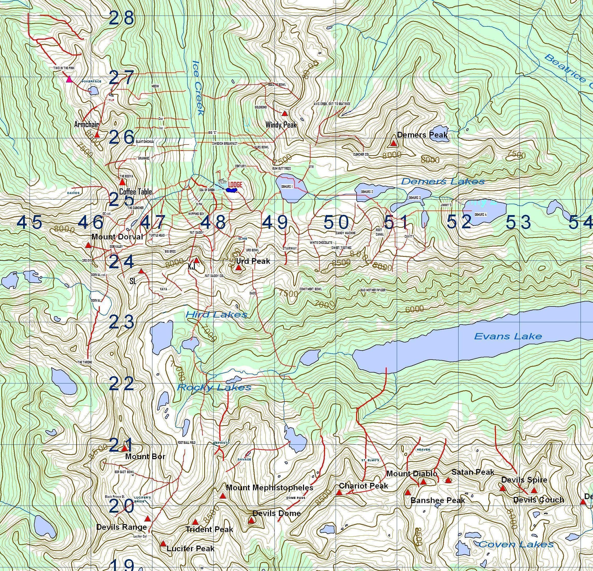 Ice Creek Lodge Piste / Trail Map