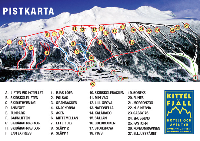 Kittelfjall Piste / Trail Map