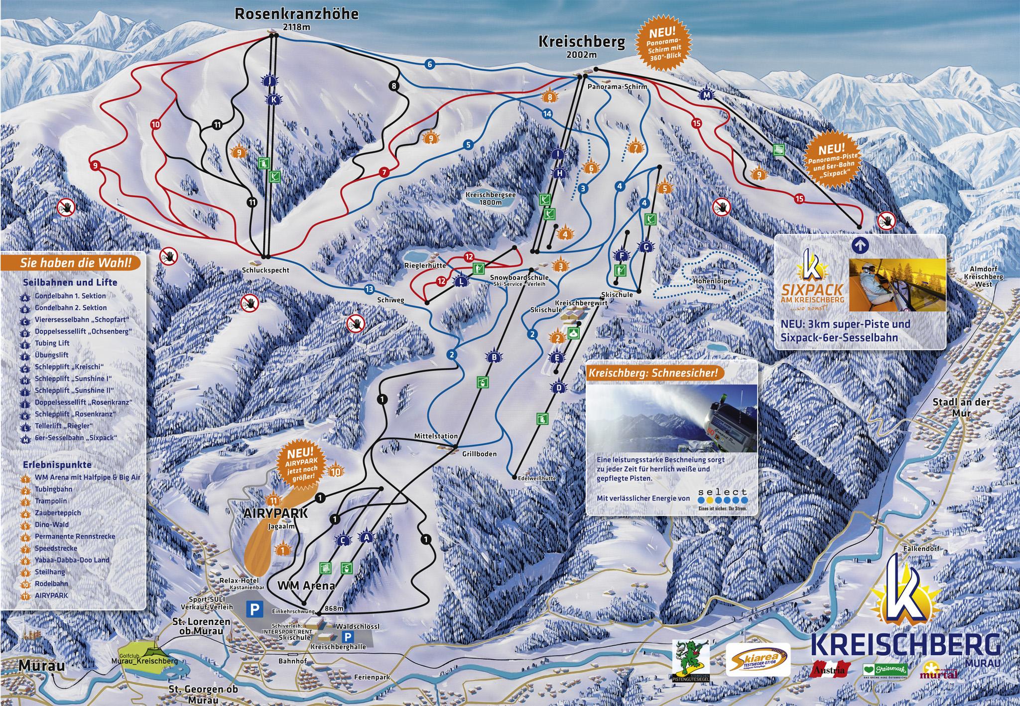 Murau kreischberg pistenplan abfahrten hohe aufl sung for Turracher hohe skigebiet
