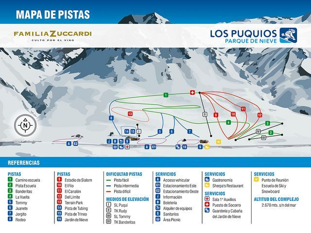Los Puquios Piste / Trail Map
