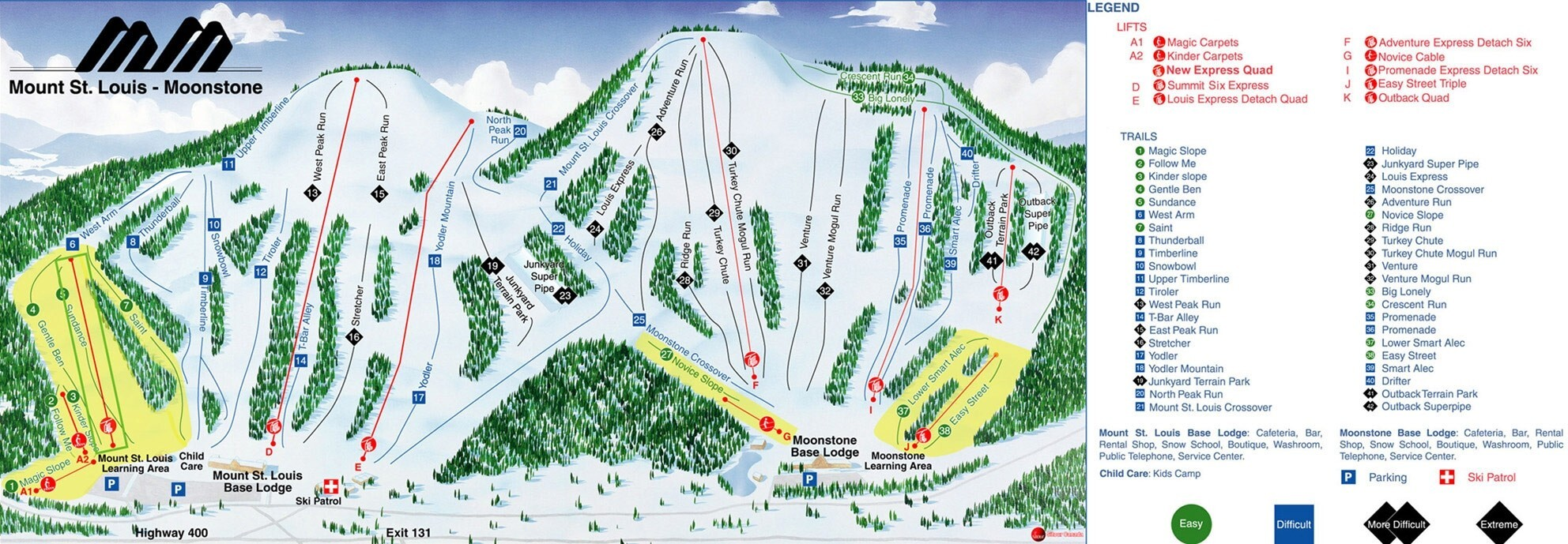 Mt St Louis Moonstone Piste / Trail Map