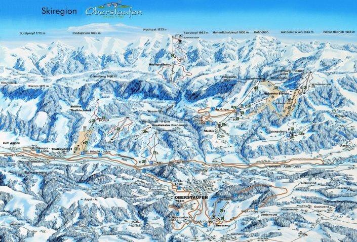 Oberstaufen Ski Resort Guide, Lagenkarte Oberstaufen Ski- Urlaub Unterkunft