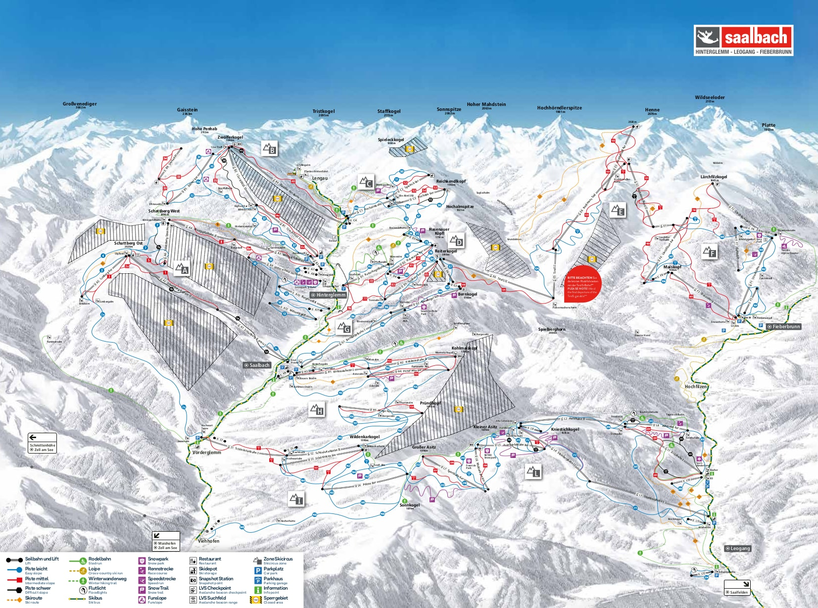 Saalbach Hinterglemm Piste / Trail Map