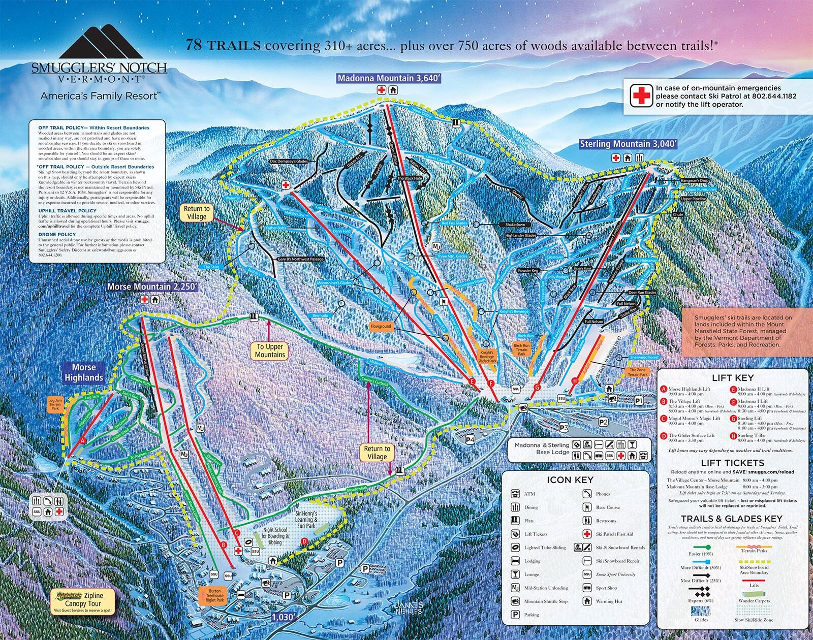 Smuggler's Notch Piste / Trail Map