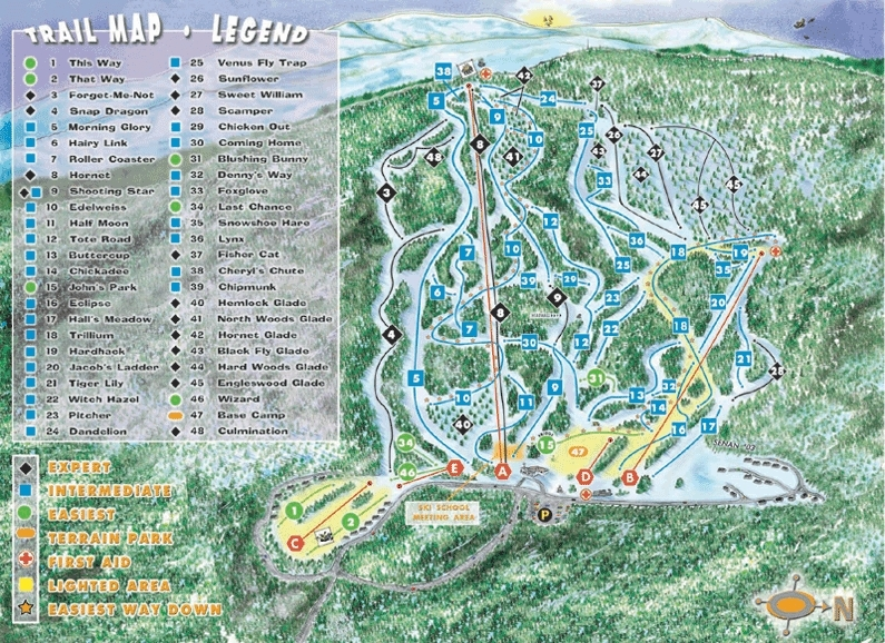 Tenney Mountain Piste / Trail Map