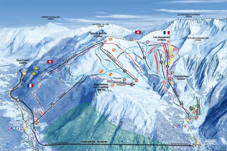 Vallorcine Piste / Trail Map